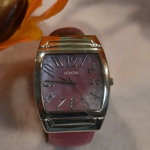 Vintage Pink and Chrome Deco Watch by HONORA